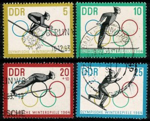 GERMANY DDR 1963 WINTER OLYMPIC GAMES USED (VFU) P.13.5x13 SG E721-24 SUPERB