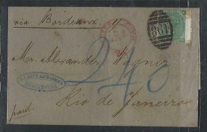 BRAZIL  COVER  (PP2909BB) 1883 GB QV 1/- PL 7   INCOMING TO RIO, ARRIVAL B/S