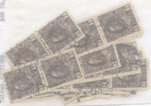 Canada #134 Used 1921 3c Brown Coil 8 pairs and 9 strips of three each.