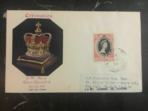 1953 North Borneo First Day Cover QE II Queen Elizabeth coronation FDC To Usa