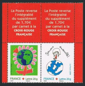 France B711-B712 pair,MNH. Red Cross 2006.Children's art.
