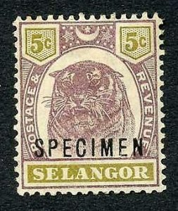 Selangor SG55s 5c Opt Specimen (M/M Hinge remainders and brown gum)
