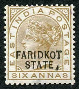ICS FARIDKOT SGO11var 1887-98 6a bistre-brown Variety Line Before F M/M (part g