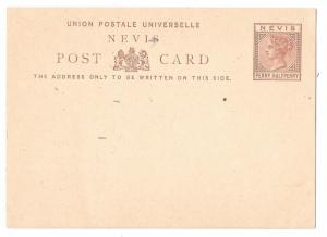 3 British Colony QV Postal Stationery Cards Nevis St Christopher St Lucia Unused