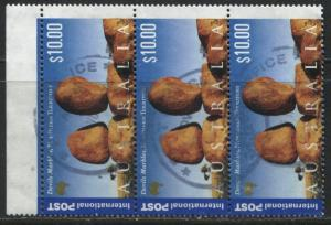 Australia 2000 $10 vertical strip of 3 used