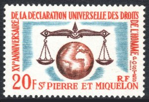 St Pierre & Miquelon 368, MNH. Human Rights Issue. Scales of Justice, 1963