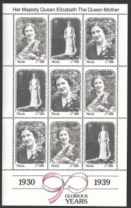 Nevis SC 616-618 * Queen Mother Sheet of 9 stamps * MNH * 1990