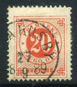 SWEDEN;  1870s-80s early Posthorn ' ore ' issue 20ore. used , fair Postmark
