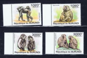 Burundi 827-30 NH 2011 Primates