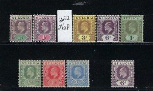 ST LUCIA SCOTT #50-51/53-55/57-59/61 1904-1910 EDWARD VII WMK 3 -  MINT HINGED