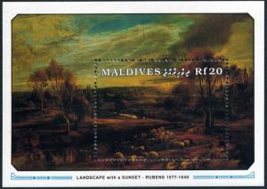 Maldives 1502,MNH. Peter Paul Rubens.Landscape with a Sunset,1991.