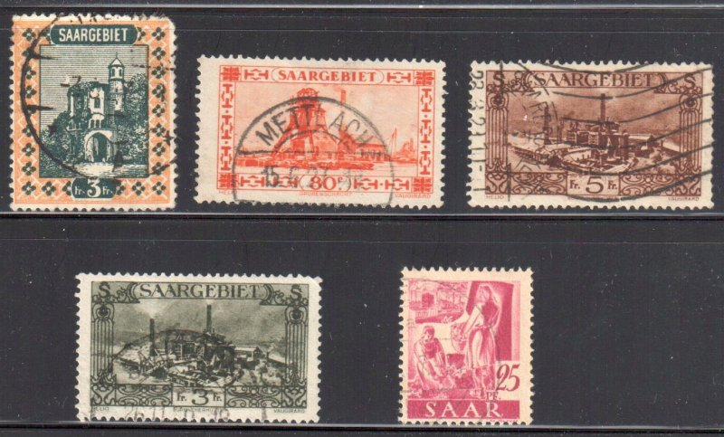 Saar #115, 129, 134-135, 164 All Used no faults -- only #115 has a short corner