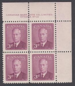 Canada - #286 King George VI Plate Block #10 - MNH