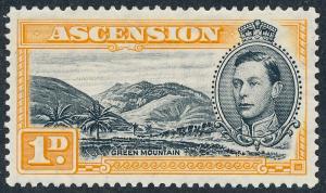 1940 Ascension 1d Black & Yellow-Orange Perf 13½ SG39a MNH
