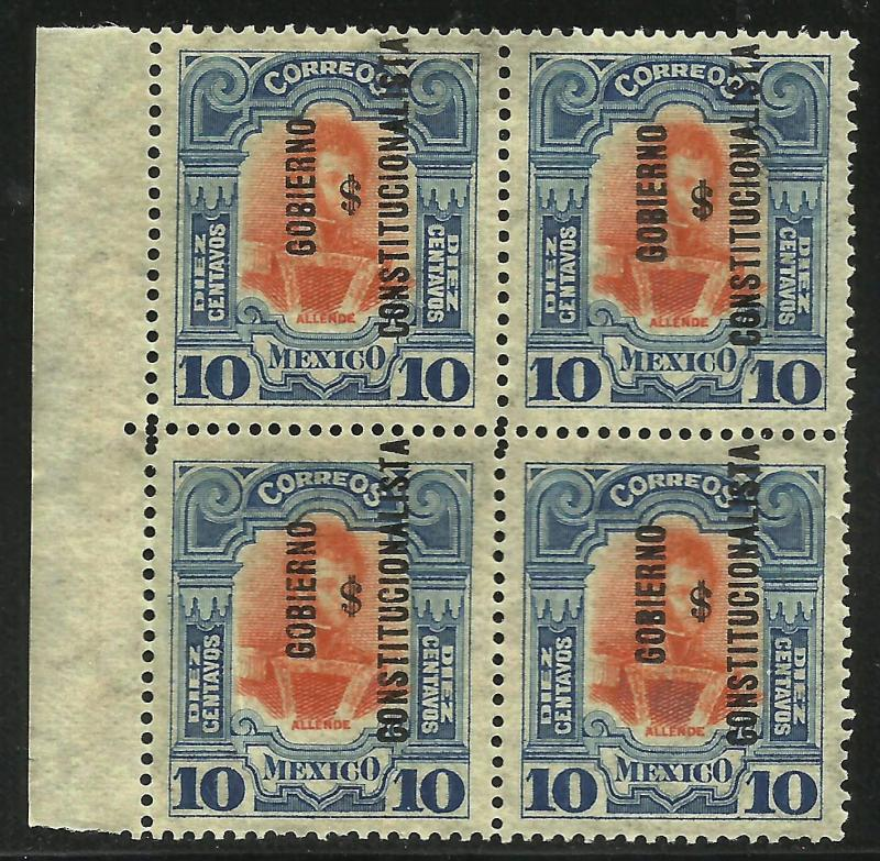Mexico 1914 Ovpt Scott# 428 MNH Blk of 4