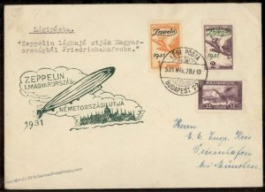 Hungary 1931 Graf Zeppelin Flown 1+2p OP Airmail Stamps Si103c Cover 93836