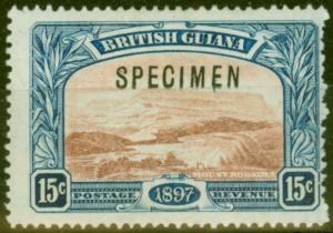 British Guiana 1898 15c Red-Brown & Blue Specimen SG221s Fine Lightly Mtd Mint
