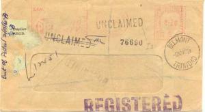 Trinidad 20c Meter 1968 Port of Spain, Trinidad Registered to Belmont with sl...