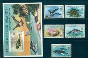 Turks & Caicos - Sc# 380-5. 1979 Endangered Species. MNH. $12.65.
