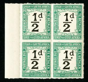 South Africa Stamps # J8 VF OG NH BLOCK 4