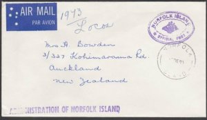 NORFOLK IS 1980 Official cover to New Zealand...............................M638