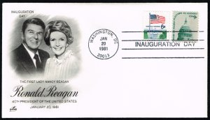 Ronald-Nancy Reagan Artcraft Cachet Inauguration Day Cover