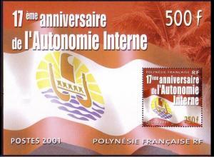 Fr. Polynesia 17th Anniversary of the Autonomy MS 2001 MNH SG#MS909