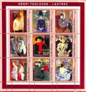A0857 - GUINEA-BISSAU - ERROR  MISSPERF SHEET - ART Painters: Toulouse-Lautrec