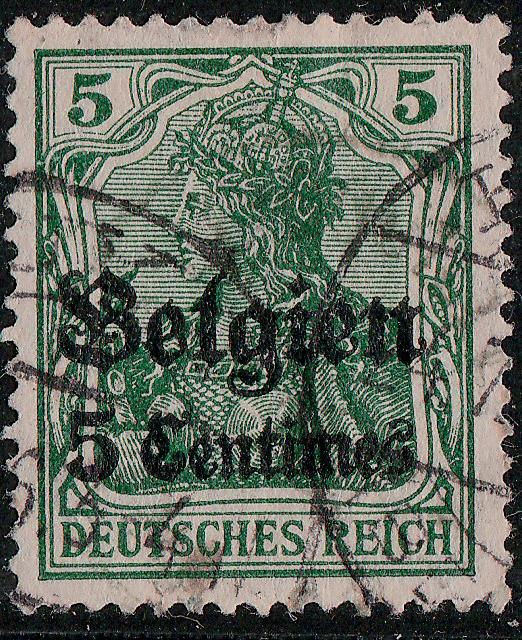 GERMANY / Occupation of Belgium - 1914 - Mi.2 5c/5pf greeen - Used