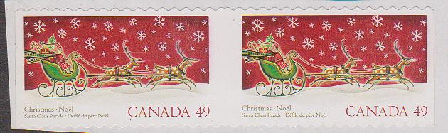 Canada - Ex. #2069a ERROR UNLISTED 2004 49c Christmas Miscut Pair