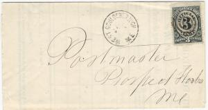 U. S., 1874, 3c Post Office Official on Cover, W. Gouldsborough, ME, cancel