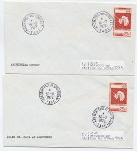 1972 FSAT covers - Iles St. Paul et Amsterdam, Crozet Scott 45 [L.104]