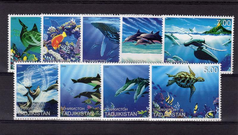 Tajikistan 2000 Marine Life/Dolphins/Turtles/Corals Set (9)  Perforated MNH