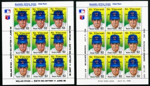 St. Vincent Mint NH Baseball Greats Stamp Sheet Collection