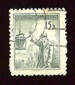 Czechoslovakia #645 15h Construction Worker