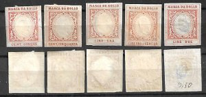 KINGDOM ITALY FISCAL REVENUE TAX PASSPORT 5 STAMPS c1860s, MNG