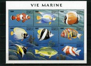 MALI 1997 FISH & MARINE LIFE SHEET OF 9 STAMPS MNH