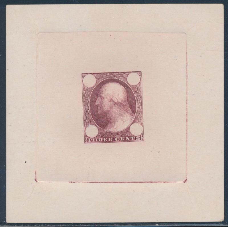 #65e2a 3c 1861 DIE ESSAY ON IVORY CARD (RED BROWN) BU6146