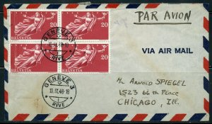 SWITZERLAND GENEVA 1948 COVER TO CHICAGO  GREAT FRANKING AS SHOWN