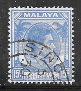 Straits Settlements 245A: 15c George VI, used, F-VF