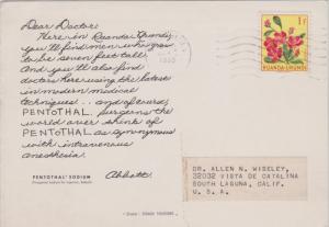 Ruanda Urundi 1F Hibiscus 1860 Usumbura PPC to South Laguna, Calif.  Printed ...