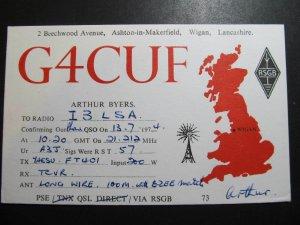 9816 Amateur Radio QSL Card WIGAN ENGLAND