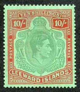 Leeward Islands SG113c KGVI 10/- Green and Red/Green m/m