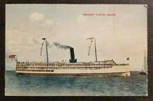Vintage Postcard Cover Steamer Calvin Austin St John New Brunswick to Warren RI