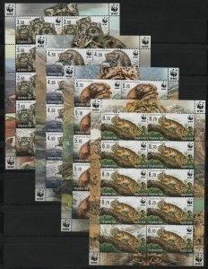 Tajikistan 2017 wild cats animals manul wwf 4 sheets MNH