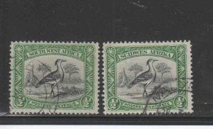 SOUTH WEST AFRICA #108a-b  1931-7  1/2p  KORI BUSTARD    F-VF USED  a