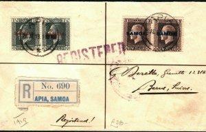 SAMOA KGV Cover Apia Registered NZ Overprint Switzerland Bern via USA 1919 PB217