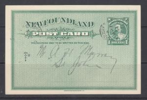 Newfoundland Uni UX7 used 1903 1c green KEVII Postal Card