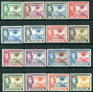 GAMBIA-1938-46 Set of 16 Values higher values Sg 150-161 LIGHTLY MOUNTED MINT