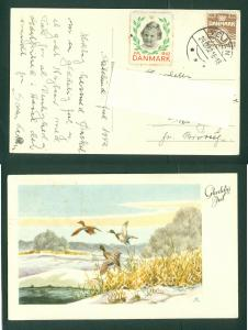 Denmark. Christmas Card 1942 With Seal + 7 Ore.Vejen. Ducks,Lake.Cancel: 24 Dec.